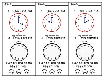 Telling Time - Exit Card