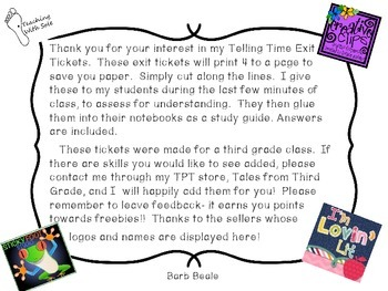 Telling Time Exit Tickets FREEBIE