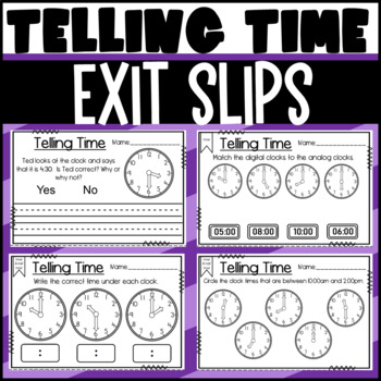 Telling Time Exit Slips: Hour and Half Hour