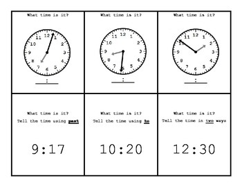 FREE   Telling Time - Fan and Pick Cards