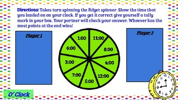 Math Centers- Telling Time Fidget Spinner Game Boards