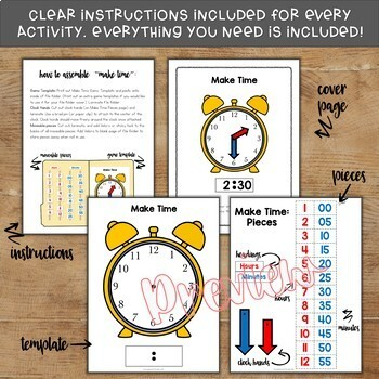 Telling Time File Folder Games