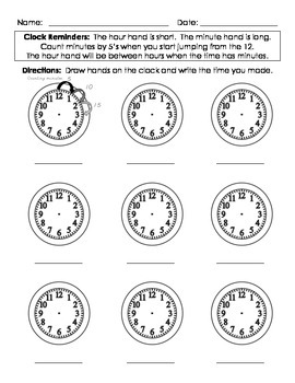 Telling Time - Fill in the Clocks