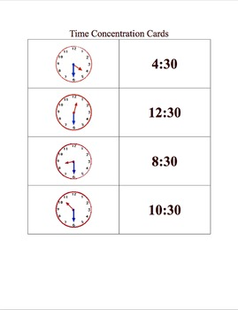 Telling Time Flashcards Memory Game