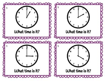 Telling Time Flashcards Unit Set for Hour, Half, Quarter, 5 & Minute