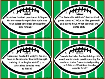 Telling Time Football Themed
