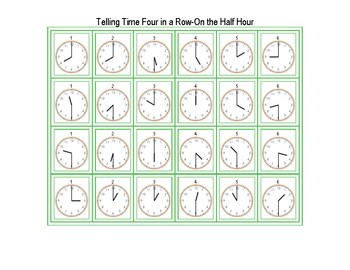 Telling Time Four in a Row-On the Half Hour