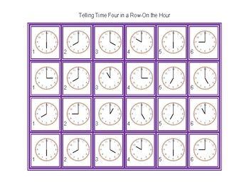 Telling Time Four in a Row-On the Hour
