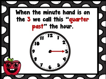 Telling Time Fraction of an Hour PowerPoint, SMART board and Task Card Bundle