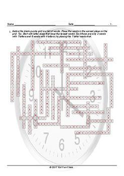 Telling Time Framework Puzzle Worksheet