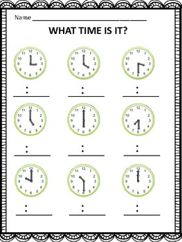 Telling Time Free - What Time Is It? (Hour and Half Hour)