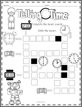 Telling Time Freebie puzzle