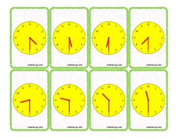 Telling Time Game Cards to the Half Hour