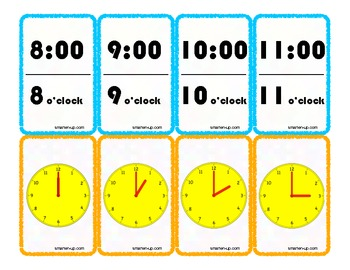 Telling Time Game Cards to the Hour
