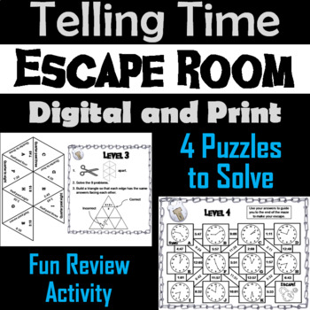 Telling Time Escape Room Math Activity