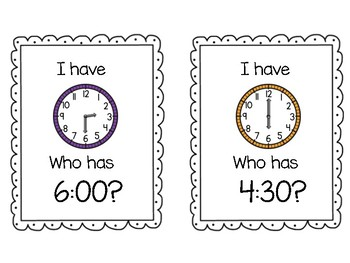 1st Grade Telling Time Game: I Have, Who Has