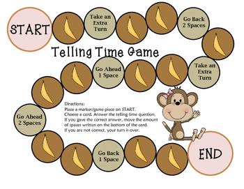 Telling Time Game (Monkey Theme)