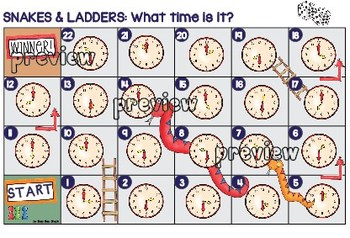Telling Time Game: Snakes and Ladders