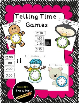Telling Time Games Bundle Unit With-Snowmen Gingerbread Man Penguin Polar Bear