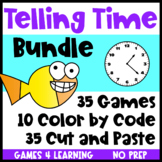 Telling Time Worksheets and Games Bundle with Color by Code, Cut and Paste
