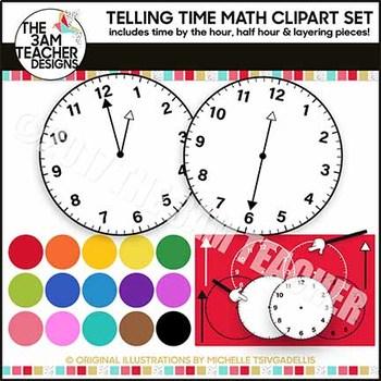 Telling Time Clock Clip Art Set Over 50 Images!