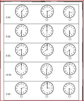 Telling Time Half Hour Match
