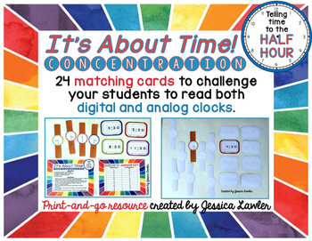 Telling Time Half-Hour Matching