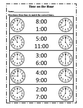 Telling Time: Hour, Half Hour, Quarters, Five Minute Intervals, to the Minute
