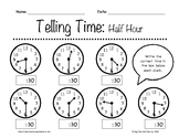 Telling Time: Half Hour Worksheets 1st-3rd Grade