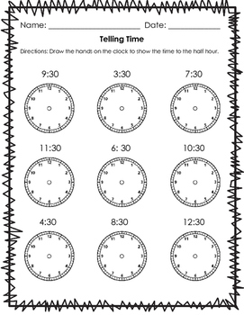 Telling Time: Half Past