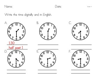 telling time half past practice analog to digital and english by ny sensei. Black Bedroom Furniture Sets. Home Design Ideas