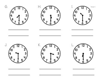 Telling Time - Half Past Practice, Analog to Digital and English