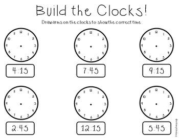 Telling Time - Half and Quarter Hour Activity Bundle
