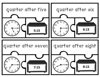 Telling Time - Half and Quarter Hour Puzzles