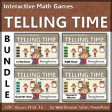 Telling Time Hour, Half Hour, Quarter, 5 minutes Interactive Math Games Bundle