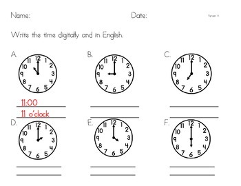 Telling Time - Hour Hand Practice, Analog to Digital and English