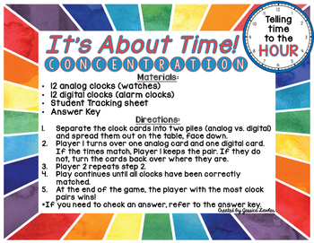 Telling Time Hour Matching
