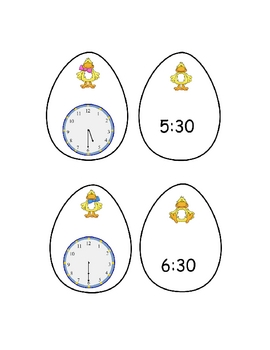 Telling Time Hour and Half Hour Egg Timer