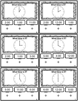 Telling Time Hour and Half Hour Scoot Poke Cards