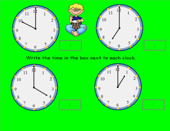 Telling Time Hour and Half Hour Smartboard Activities