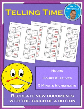 Telling Time (Hours, Hours & Half Hours, 5 Minute Increments) - Random Generator