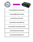 Telling Time I Can Statements for Data Notebook