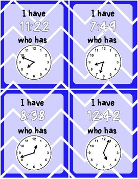 Telling Time -  I HAVE WHO HAS