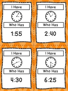 Telling Time - I Have, Who Has Game - An Excellent Review and Practice Game