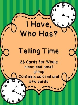 Telling Time - I Have, Who Has Game - An Excellent Review