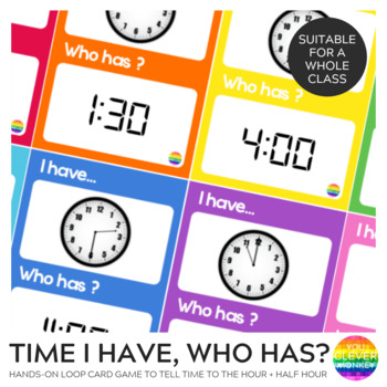 Telling Time I Have, Who Has Loop Card Game - Hour + Half Hour Time
