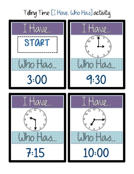 Telling Time I have Who Has group activity