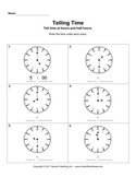 Telling Time Increments Worksheets
