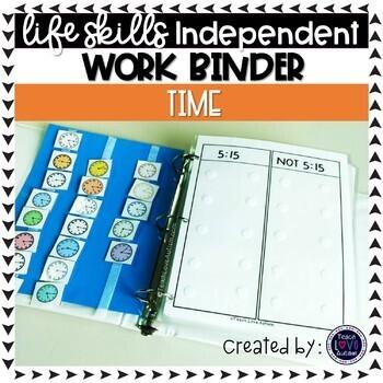 Telling Time Independent Work Task Binder