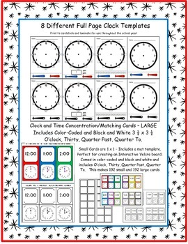 Telling Time - Interactive Clocks and Activity Cards